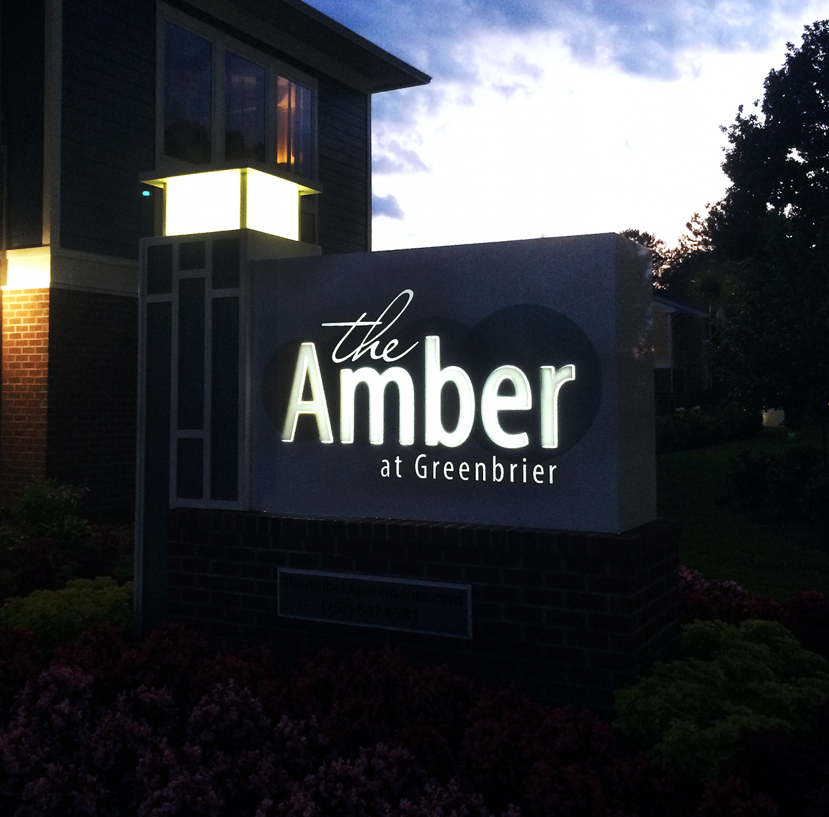 The Amber At Greenbrier Monument Sign Idf Pensign